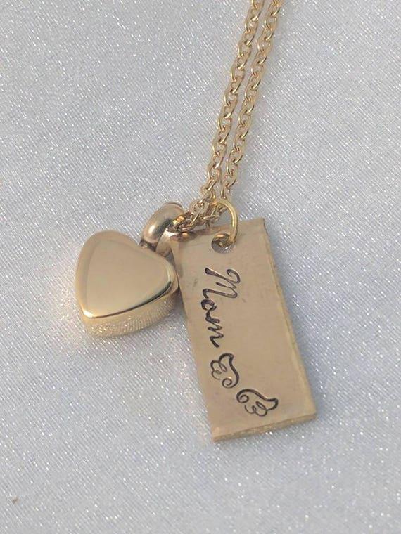 Loss of Mom - Gold Heart Urn - Urn Necklace - Angel Mom Necklace - Sympathy Gift - Memorial Urn Necklace - Remembrance Keepsake - Ash Holder