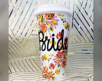 Dainty Floral Flowery Travel ceramic coffee Cup- Wedding gift- Bride Bridesmaid Mother of the Bride-Handpainted travel mug  double walled