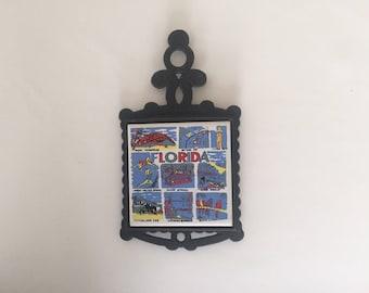 Vintage Florida Cast Iron and Ceramic Trivet, 70s Retro Kitchen Decor, Accessories, Wall Hanging, Tourist Gift Souvenir