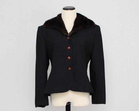 Vintage 1970s Black Fur Trimmed Blazer - Size Medium - ILGWU label