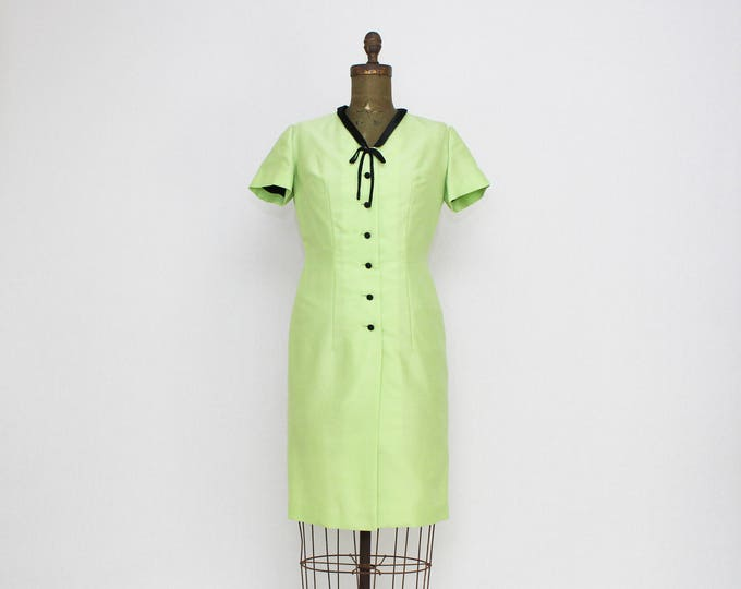 Vintage 1960s Lime Green Secretary Dress by Mary Anne Modell - Size Medium