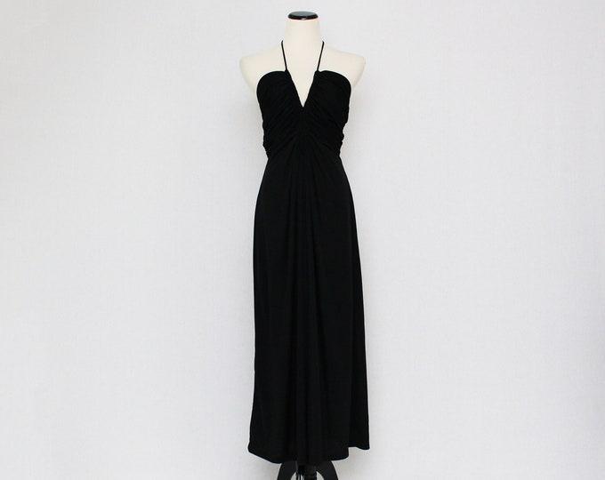 Vintage 1970s Black Plunging Neckline Halter Dress by Joy Stevens - Size Small