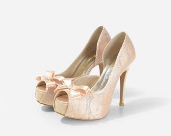 Lady Catherine, Champagne Gold Wedding Heels, Golden Wedding Shoes with Lace,  Golden  Wedding Heels, Lace Wedding Shoes