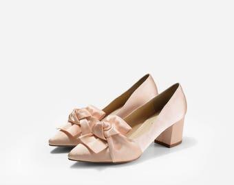 Belle Block Heels, Custom Made Wedding Shoes, Bespoke Bridal Heels, Silk Satin Evening Shoes, Bow Wedding Shoes, Satin Bridal Heels