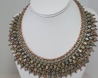 Stunning pastel colored glass beaded Cleopatra style bib statement necklce