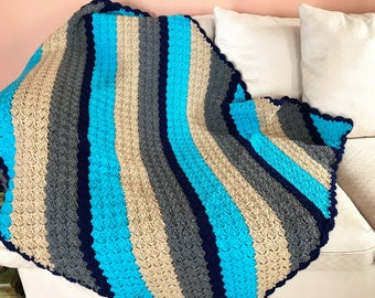 Multi Color Striped Crochet Afghan, Multi Shades Design Throw, Striped Crochet Blanket, Diagonal Design Turquoise Navy Grey Buff Afghan