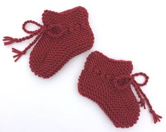 Hand Knit Red Baby Booties