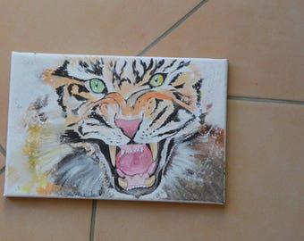 Tiger fierce canvas acrylic size 20x30cm