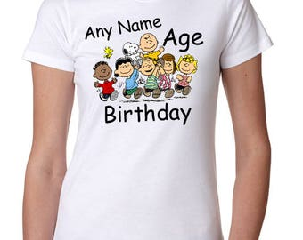 Snoopy / Charlie Brown Gang Custom Birthday Shirt DTG Direct to Garment Graphic Fashion Shirts - All Sizes Available