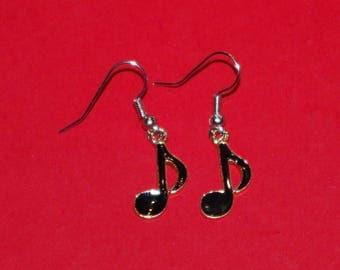 black music notes earrings