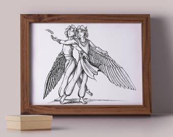 Inktober Artwork - Magical Spirits - Angels - Twins - Ink Illustration - Wings- Fantasy Art