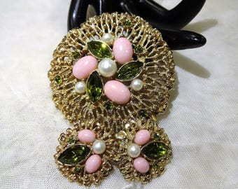 """Vintage """"Fashion Splendor"""" Sarah Coventry Brooch and Earrings (Book Piece)"""