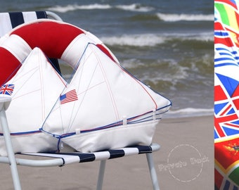 Luxury Pillow Yacht with Flag X 10 MADE TO ORDER Nautical Art Elegant White Home Decor Spectacular gift for Sailor!