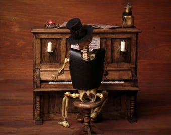 Miniature Skeleton with Piano for your Dollhouse
