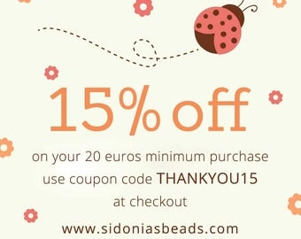 SPECIAL OFFER - Get 15% off your 20 euros minimum purchase - Use coupon THANKYOU15 at checkout <>Please don't buy this banner/listing! :)