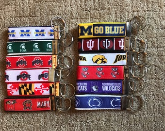 NCAA Key Chains, Headband, Lanyards or Backpack Tags: West Virginia, Pitt, Notre Dame, Penn State, Florida, Wisconsin, North Carolina, Michi