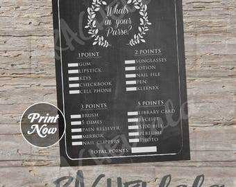 Chalkboard, What's in your purse game, baby shower, wedding bridal shower, direct sales party, printable template, instant digital download