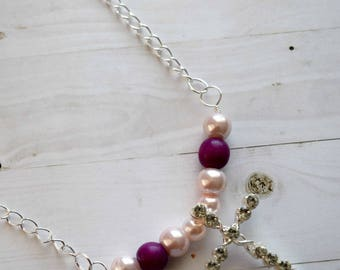 Cross Necklace With Sterling Silver Chain and Pink Beads Christian Jewelry