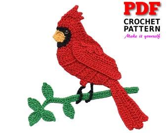 Crochet | Crochet Pattern | Applique pattern | Crochet CARDINAL in BRANCH