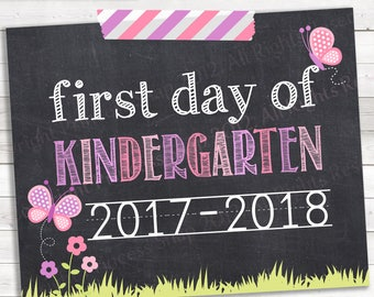 """Butterfly First Day of Kindergarten, 2017-2018, Kinder Photo Prop, Pink Purple First Day Kindergarten, 1st Day School, Printable Sign, 8""""x10"""