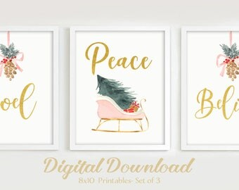"Watercolor Christmas Printables, Sleigh Pink and Gold Decor Prints, Holiday Art Prints 8""x10"", Set of 3, Downloadable Art, Christmas Prints"
