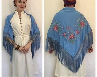 FLASH SALE Vintage 1970's Embroidered Blue Shawl