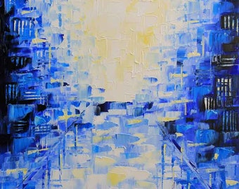 Abstract Painting, Abstract Decor, Modern Decor, Textured Art, Original Painting, Abstract Art, Cityscape, Blue, Purple, Abstract, City