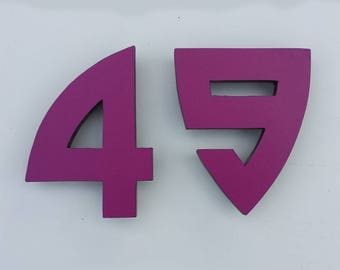 "Architectural Arts and Crafts  9""/228mm high  House numbers in Bala font in  virgin cladding board g"