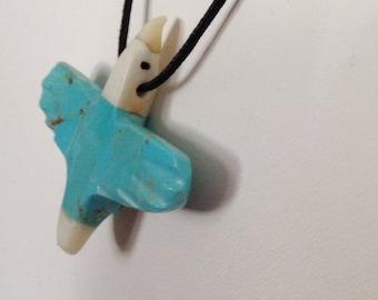 Southwestern Hand Carved Turquoise, Jet, Alabaster Bird Fetish Necklace - Matt Mittchell