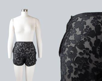 Vintage 1940s Tap Pants | 40s Sheer Silk Chiffon Floral Burnout Black Boudoir Lingerie Shorts (xs)