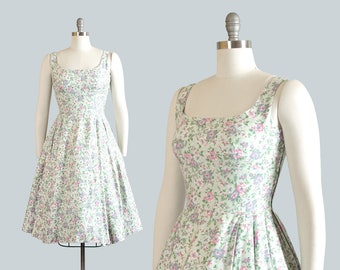 Vintage 1950s Dress | 50s Floral Print Cotton Sundress Light Blue Full Skirt Day Dress (small)
