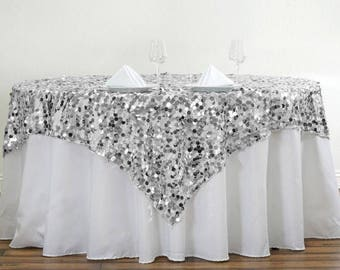 """Silver Large Sequin Table Overlay 72"""" x 72"""""""