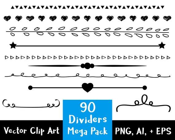 Line Divider Clipart 90 Dividers Mega Pack Wedding Clipart