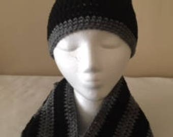 Grey Black Hat Scarf Crochet Mens Accessories Gift For Men Hat