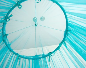 Turquoise Baldachin -  Tulle Canopy, Crib  Bed Mesh Canopy, Nursery canopy, Bed canopy, Play room canopy, Hanging Canopy, Nook, Photo