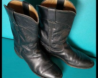 Men's Vintage Black Leather Justin Ropers Western Cowboy Boots Size 7C equal to Women's 8 to 8.5 perfect for upcycling reworking supplies