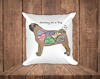 Anatomy of a Pug - Funny Pug Dog Square Pillow