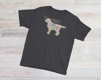 YOUTH TEE - Anatomy of a Yellow Lab - Funny Labrador Retriever Tee - Youth Short Sleeve T-Shirt