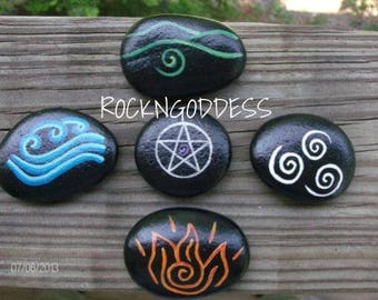 Made-to-Order Elemental Stones ~ Earth, Air, Fire, Water, and Pentacle Set