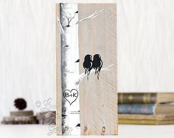 Love Birds Art Rustic Wood Signs Reclaimed Wood Art Birch Tree Aspen Tree Painting Wood 5th Anniversary Gift Custom Wedding Gift for Couple
