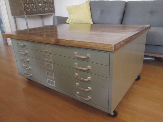 Vintage cole steel blueprint cabinet coffee table handmade like this item malvernweather Image collections