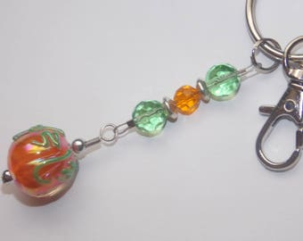 Orange Lampwork Pumpkin Keychain Purse Charm