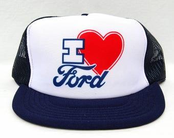 Vintage 80s I Love Ford Trucker Hat Mesh Snapback Heart Ford Snap Back Baseball Cap 1980s Clothing