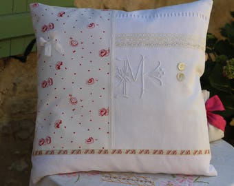 White antique linen, embroidery, Monogram fabric M 48/48 shabby chic cushion old petiterose