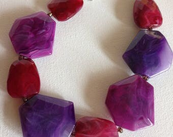 Necklace - Chunky plastic necklace large flat purple and pink faceted beads