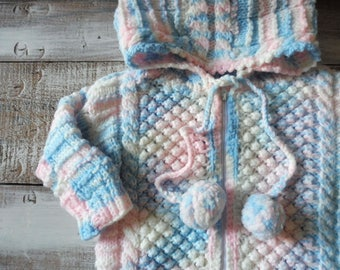 Vintage baby hand knit sweater snowsuit Baby hand made sleep sack Vintage baby winter clothes Retro baby clothes Baby girl pink snowsuit
