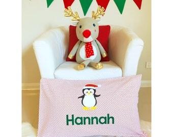 Personalised Christmas Penguin pillowcase