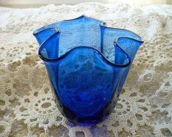Blue Glass Fluted Bowl, Translucent Glass, Vase, Candle Holder