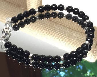 6mm Black Jasper Beaded Bracelet
