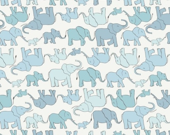 Elephant Family on Blue, Lewis and Irene, quilting cotton, fabric by the yard, nursery prints, jungle, animal fabric, marching elephant
